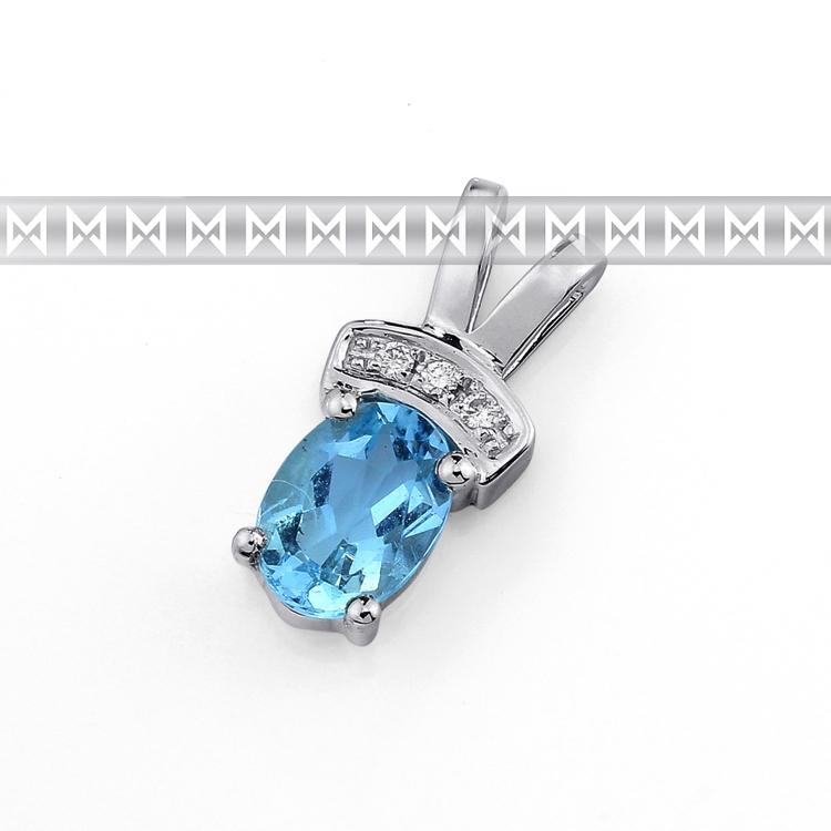 Luxusní přívěsek z bílého zlata s velkým modrým topazem (blue topaz) a diamanty (3870196-0-0-93)