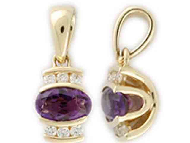 Luxusní přívěsek ze žlutého zlata s diamanty a fialovým ametystem 585/0,75gr (3820129-0-0-95)