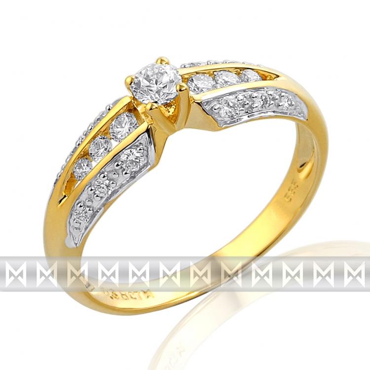 Mohutný velký diamantový prsten GEMS diamonds, žluté zlato 585/2,2 gr (3811233-5-55-99)
