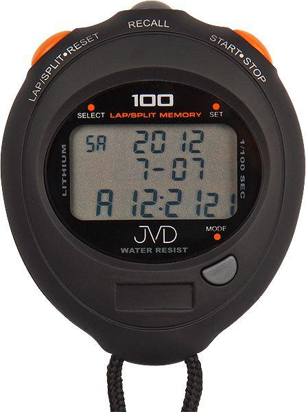 Černé vodotěsné sportovní profesionální stopky JVD ST33