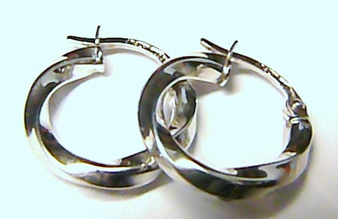 Točené luxusní dámské mohutné zlaté kruhy z bílého zlata pr.14mm 585/0,95g T064
