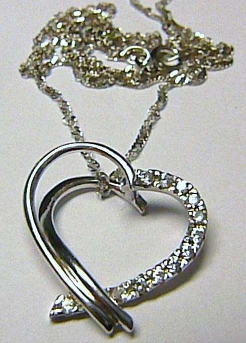 Luxusní souprava z bílého zlata s mohutným srdcem se zirkony 45cm 585/3,25g T071