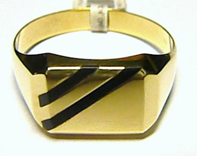 Obrovský mohutný pánský zlatý prsten s černým onyxem 585/4,86 gr T087 vel. 74
