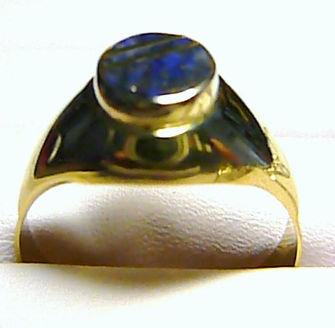 Luxusní pánský zlatý mohutný prsten s modrým Lapis-lazuli kamenem 585/4,95g T088