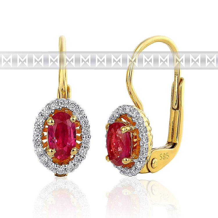 Diamantové náušnice s diamanty a velkým červeným rubínem alá Kate Middleton (3830121-5-0-94)
