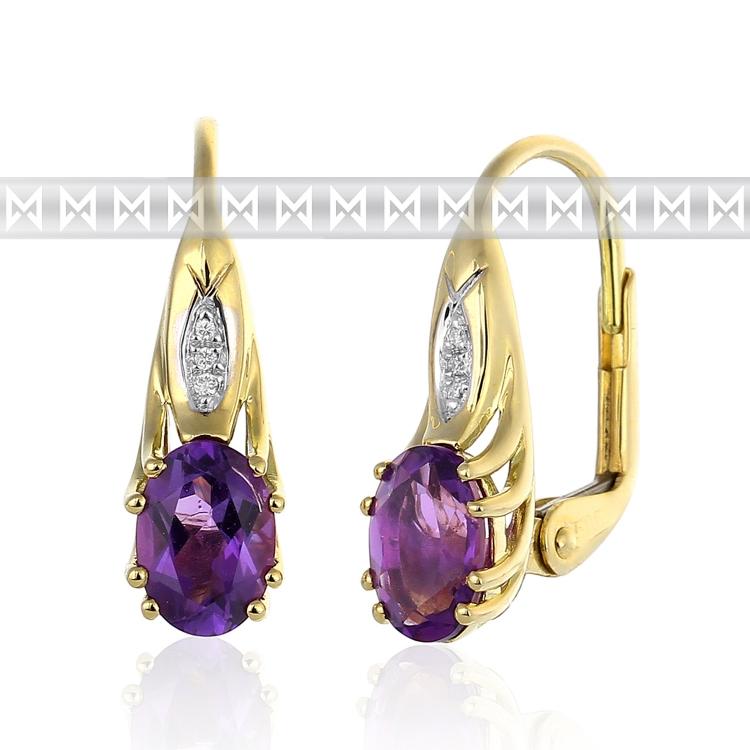 Dámské diamantové luxusní náušnice s diamanty a přírodním fialovým ametystem 2,7 (3830903-5-0-95)