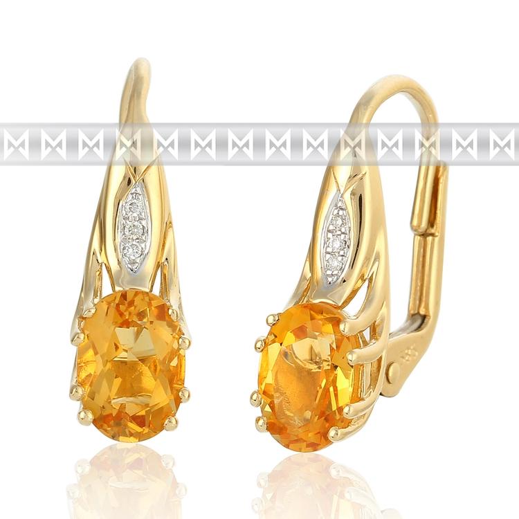 Diamantové zlaté náušnice s diamanty a oranžovým přírodním citrínem 585/2,85 gr (3830897-5-0-80)