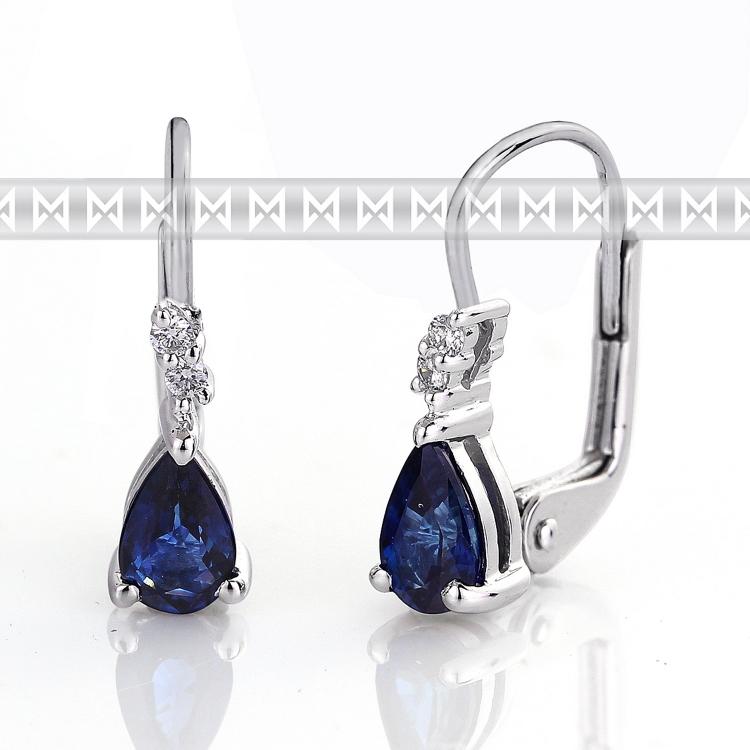 Luxusní diamantové náušnice s diamanty a modrým přírodním safírem (3880100-0-0-92)