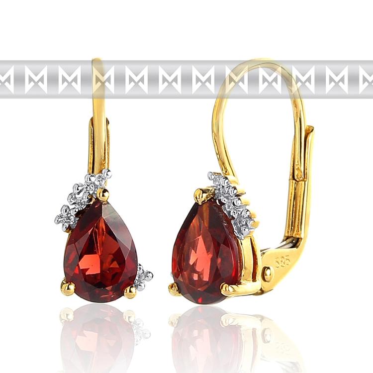 Luxusní diamantové zlaté náušnice s českým granátem a diamanty 585/1,7 gr (3830063-5-0-81)
