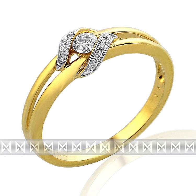Diamantový prsten ze žlutého zlata (i zásnubní) s 11ks diamantů 585/2,3gr vel.56 (3811642-5-56-99)