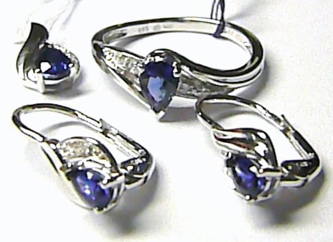 Luxusní diamantová zlatá souprava s modrými safíry a diamanty 11 ks + 4ks SAFÍR (386-1949+387-0723+388-0945)