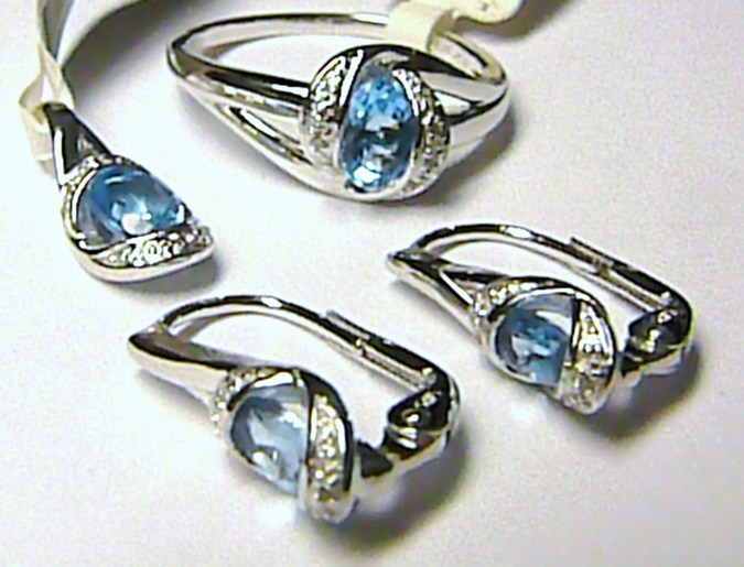 Luxusní diamantová zlatá souprava s diamanty (26 ks) a 4ks (BLUE TOPAZ) - MODRÝ (386-1939+387-0712+388-0935+)