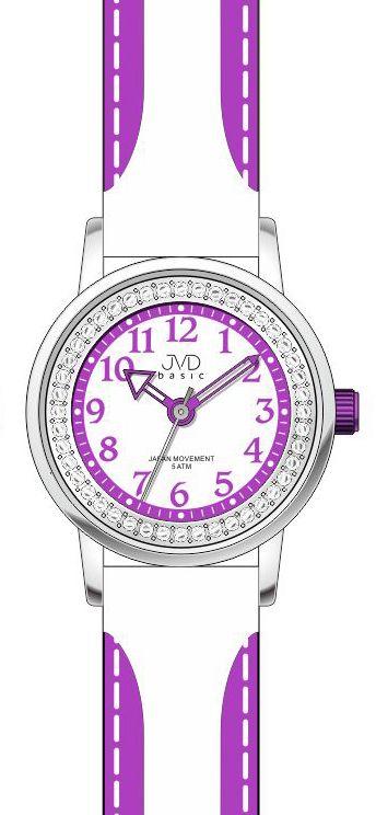 Dětské fialovo - bílé náramkové hodinky JVD basic J7089.7