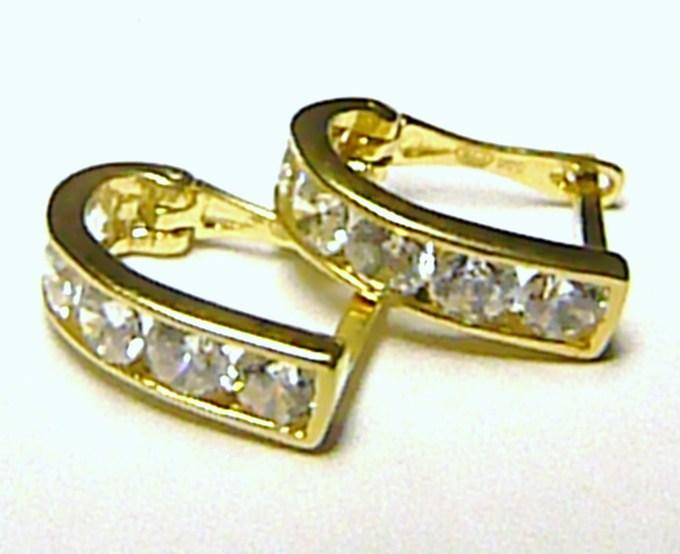 Luxusní mohutné zlaté náušnice - půlkroužky s velkými zirkony 585/1,65 gr P144 (2230387.0.00.01)