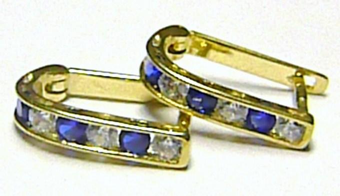 Náušnice půlkroužky ze žlutého zlata se zirkony a modrými safíry 585/1,07gr P145