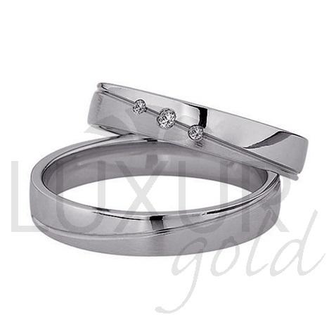 Snubní prsteny bílé zlato 436-502-503 z bílého zlata se zirkony/diamanty (436-502-503 )