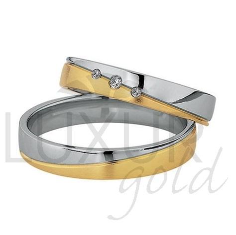 Luxusní snubní prsteny žluto bílé zlato 436-502-503.5 - kombinace zlata 1ks (436-502-503.5 )