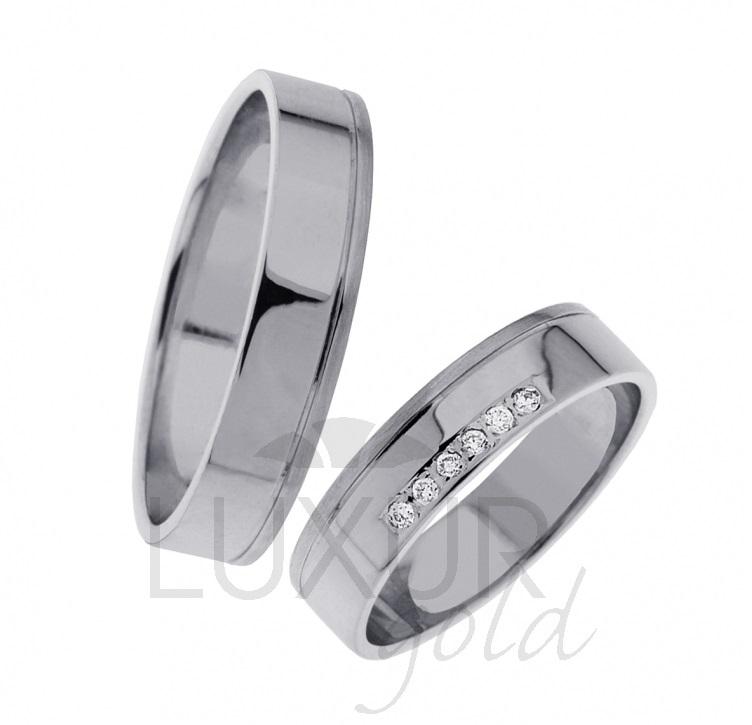 Luxusní Snubní prsteny bílé zlato 436-0201-0202 se zirkony/diamanty 1ks (436-0201-0202 )
