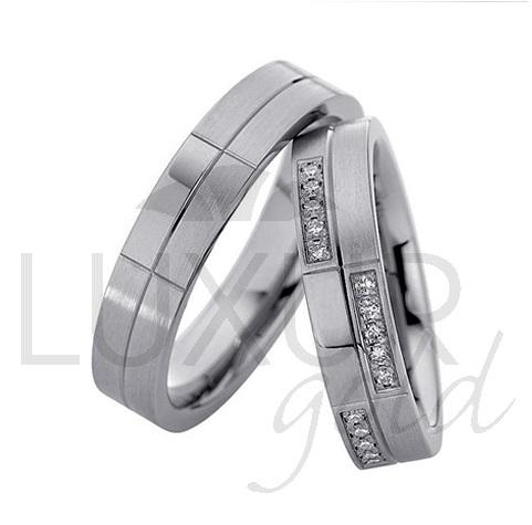 Luxusní zlaté snubní prsteny bílé zlato 436-500-501 (436-500-501)