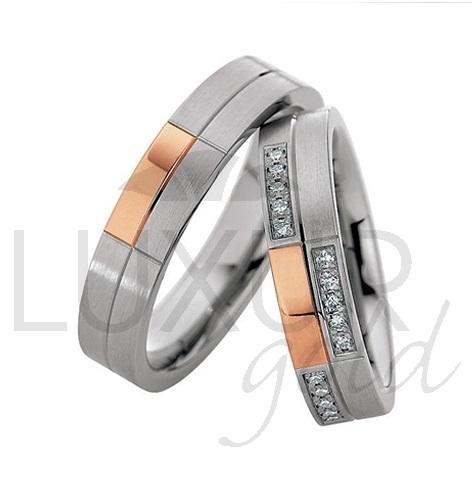 Luxusní snubní prsteny červeno bílé zlato 436-500-501.4 kombinace - cena 1ks (436-500-501.4 )