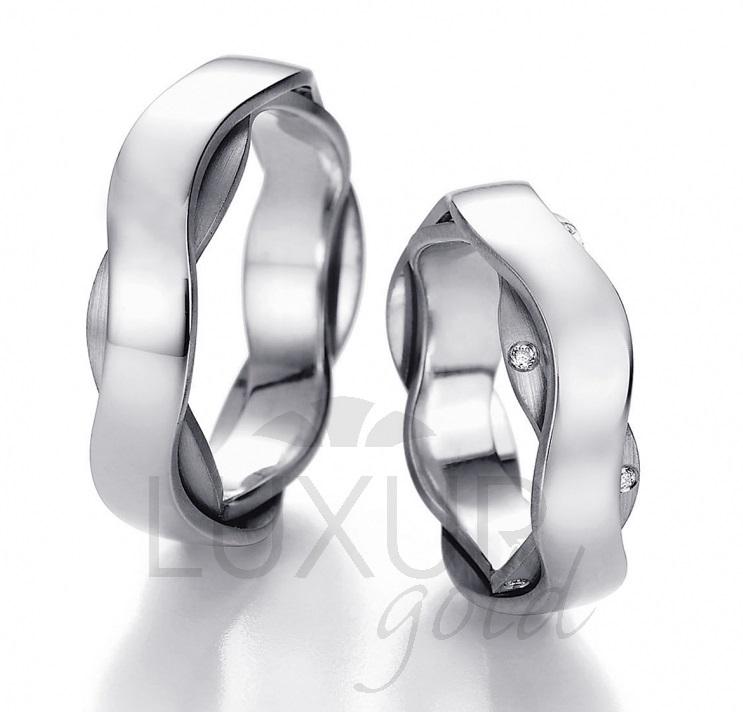 Exkluzivní snubní prsten bílé zlato, 436-512-513 - designový snubák cena 1ks (436-512-513 )