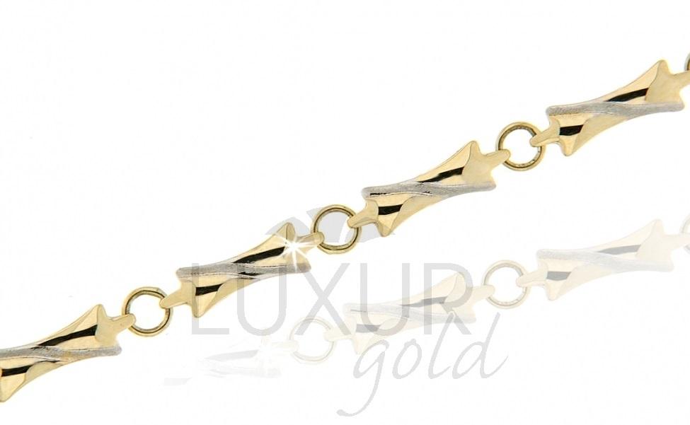 Mohutný ozdobný zlatý náramek v kombinaci zlata 585/18cm 1440101-6-18-0 (1440101-6-18-0)
