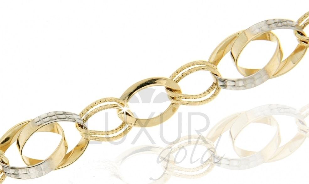 Mohutný luxusní zlatý silný náramek v kombinaci zlata 585/18cm 1440425-6-18-0 (1440425-6-18-0)