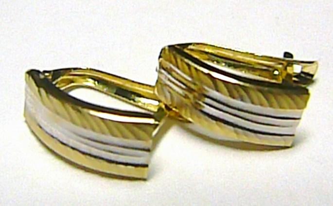 Dámské zlaté náušnice v kombinaci zlata (čtvrt kruhy) 585/1,25gr P162