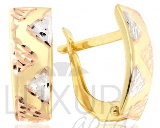 Luxusní mohutné zlaté dámské náušnice kombinace AU 585/1,25gr 1430776 (1430776)