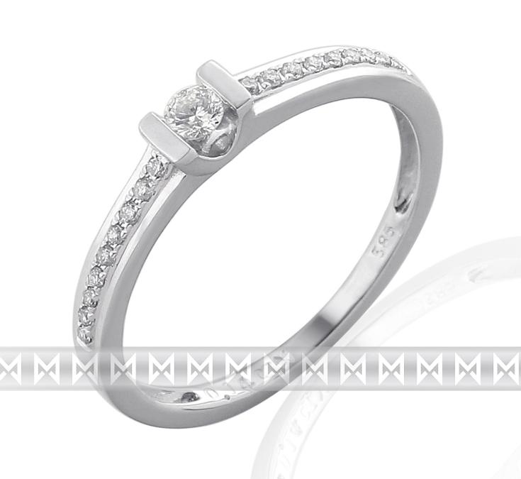 Luxusní zásnubní prsten s diamantem z bílého zlata 19ks/0,14ct (3860831-0-51-99)