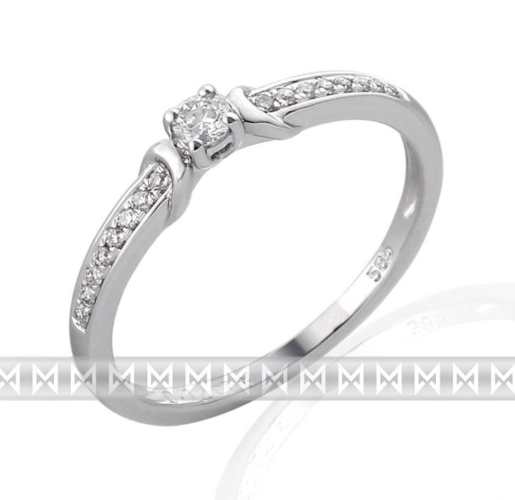 Luxusní zásnubní prsten s diamantem posetý diamanty 17ks/0,12ct (3860836-0-54-99)