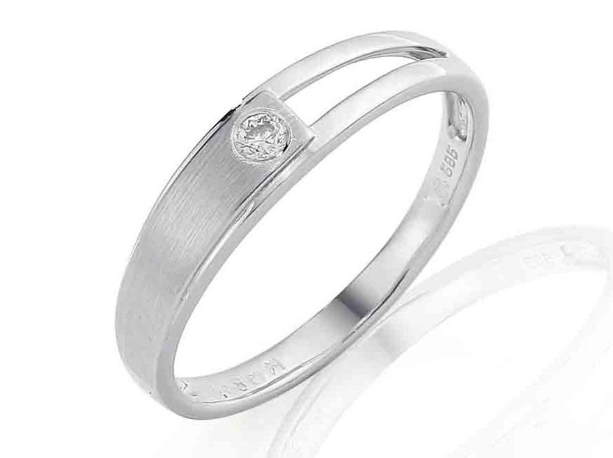Zásnubní prsten s diamantem, bílé zlato brilianty 585/2,2 gr 3861188-1-54-99 (3861188-1-54-99)