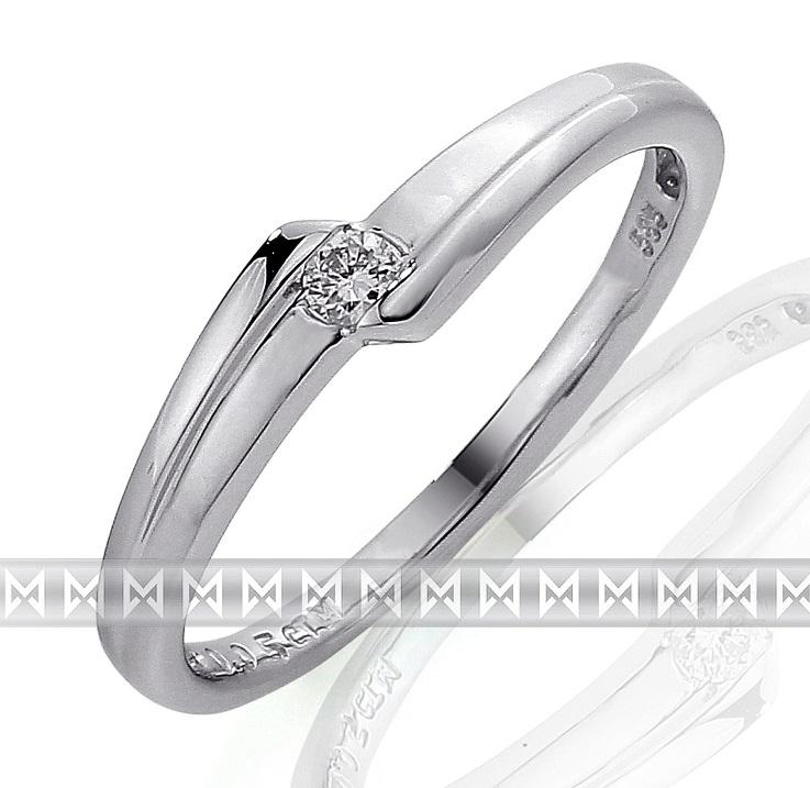 Zásnubní prsten s diamantem, bílé zlato brilianty - diamant 585/1,95gr 3860694 (3860694-0-54-99)