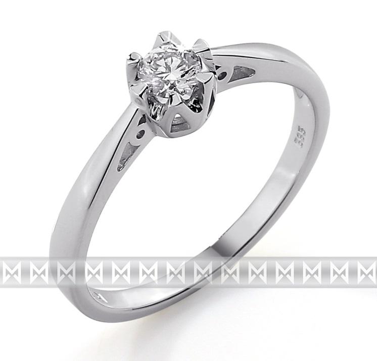 Luxusní zásnubní prsten s diamantem, bílé zlato brilianty 585/2,0gr 3861311-0-52