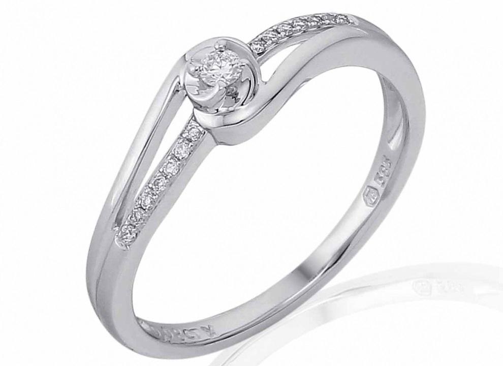 Luxusní mohutný zlatý zásnubní prsten s diamantem, bílé zlato brilianty 3861833- (3861833-0-51-99)