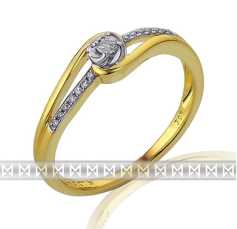 Luxusní mohutný zlatý zásnubní prsten posetý diamanty 15ks/0,08ct 3811834-5-52-9 (3811834-5-52