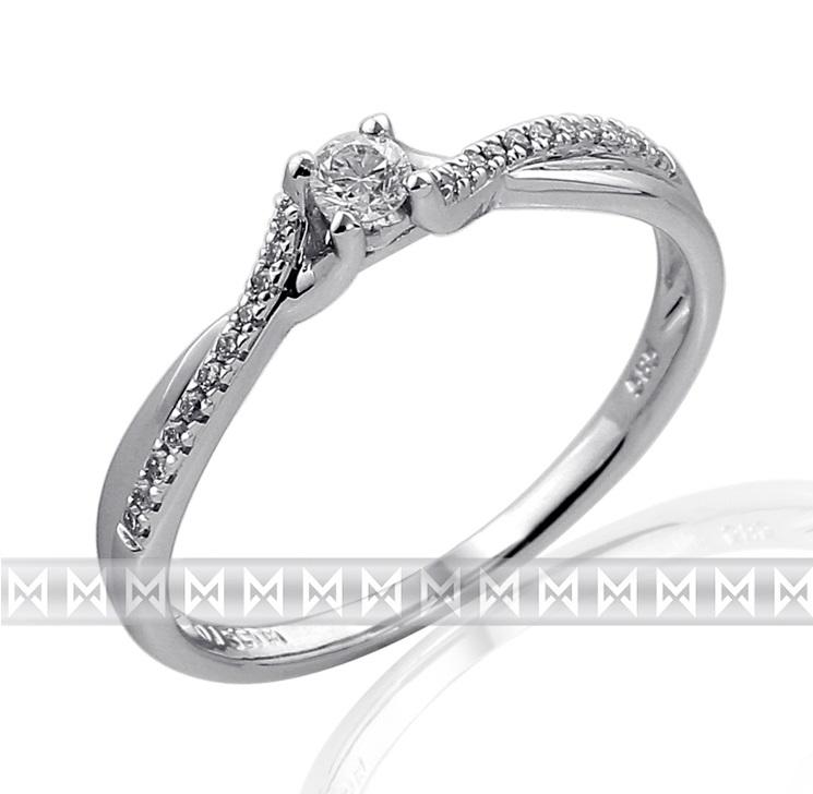 Luxusní moderní zásnubní diamantový prsten z bílého zlata 1/0,09 ct + 22/0,6ct (3861849-0-52-99)