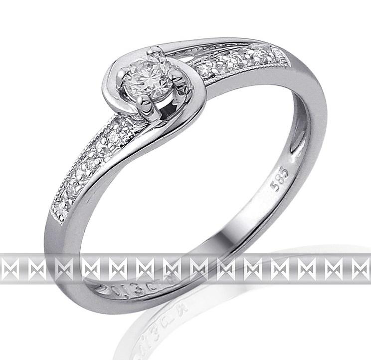 Mohutný zásnubní diamantový prsten z bílého zlata 1/0,09 ct + 6/0,03 ct 585/2,15 (3861847-0-55-99)