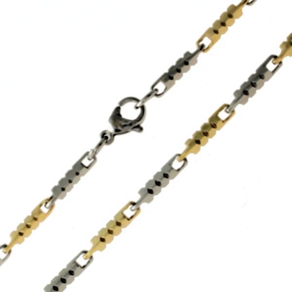 Řetízek z chirurgické oceli 316 L 148 - (ocelová / zlatá) UNISEX 215148