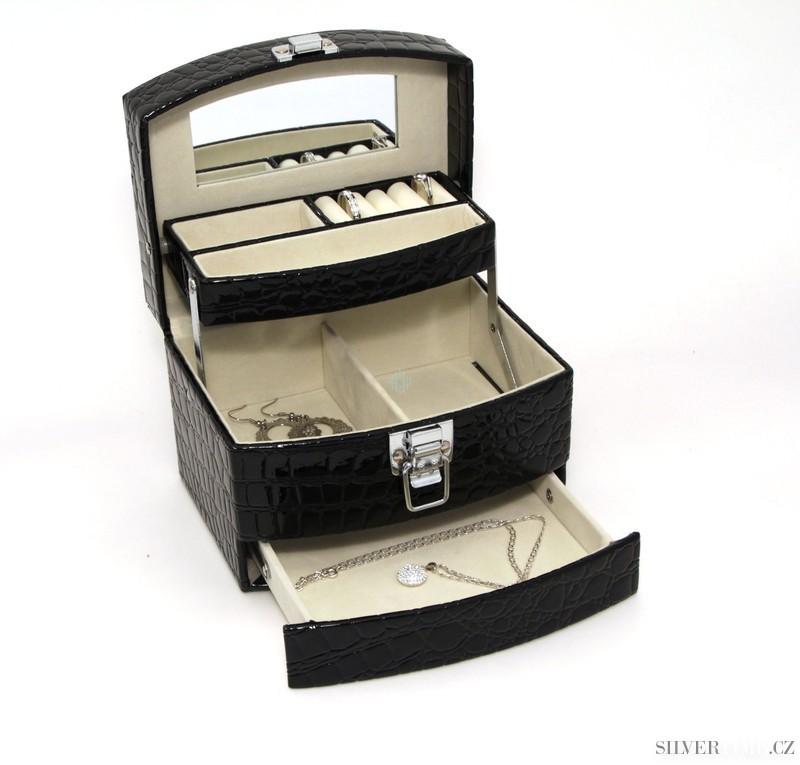 Luxusní černá šperkovnice SP-250/A25 s designem krokodýlí kůže