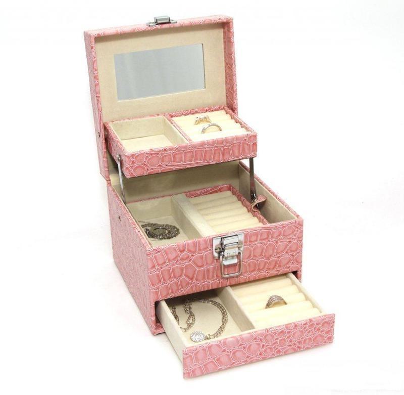 Luxusní růžová šperkovnice SP-252/A5