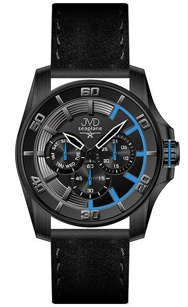 Vodotěsné luxusní černé odolené náramkové hodinky JVD Seaplane W42.1