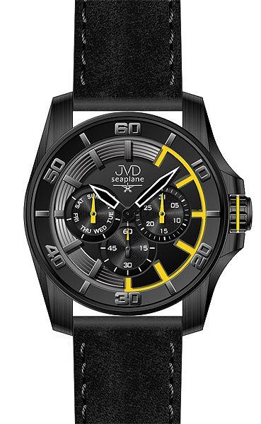 Vodotěsné černé odolené náramkové hodinky JVD Seaplane W42.3 - chronograph!!