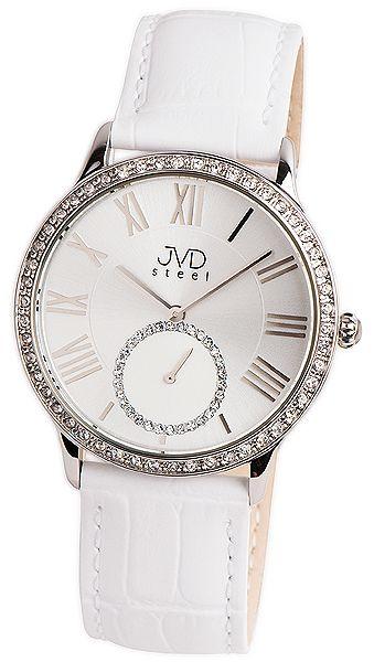 Luxusní dámské náramkové hodinky se zirkony JVD Steel W45.1 5ATM