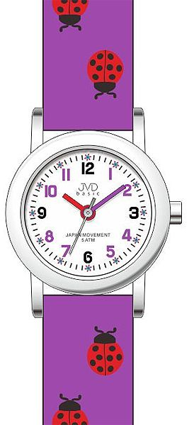Fialové dětské hodinky pro dívky JVD basic J7020.3 s motivem berušky