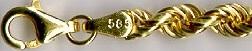 HOLLOW CORDA - zlaté náramky, zlaté řetízky točené mohutné COV 070