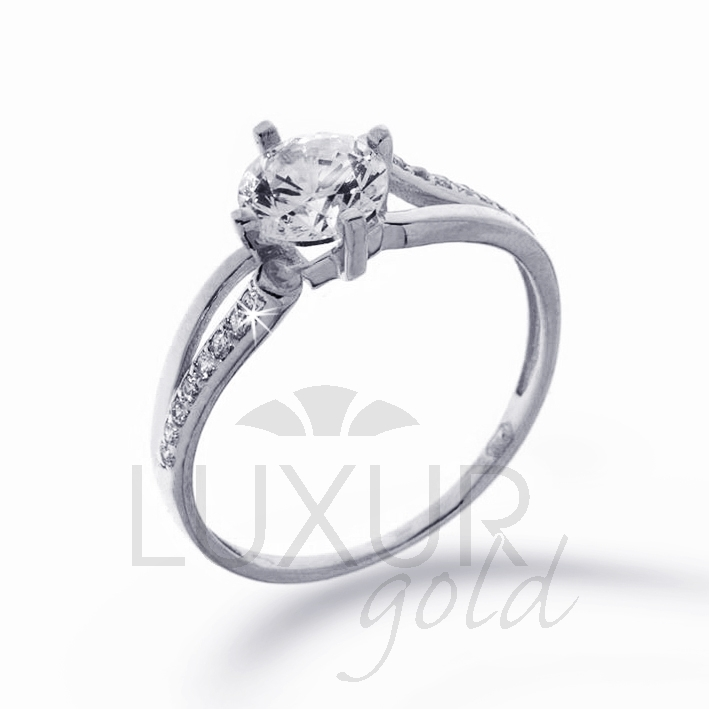 Mohutný zásnubní prsten bílé zlato se zirkonem 1261096-0-50-1 P376 (1261096-0-50-1)