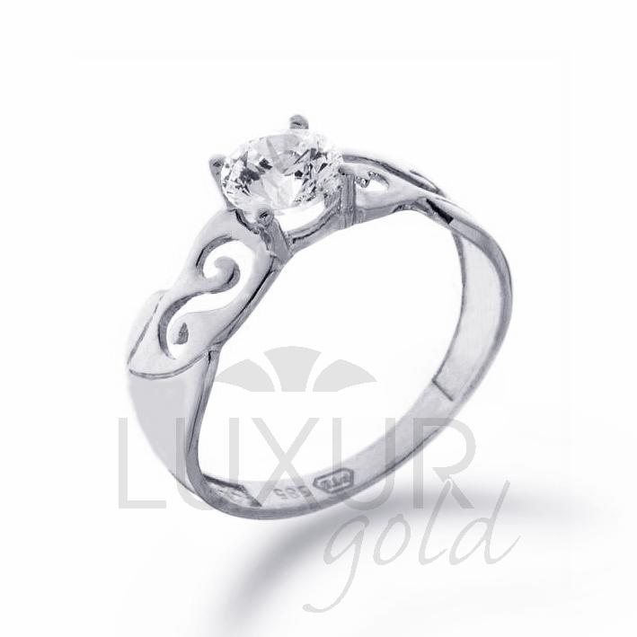 Zásnubní prsten bílé zlato se zirkonem 1261028-0-52-1