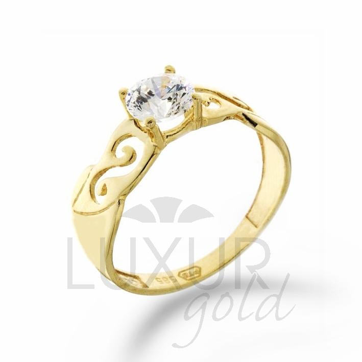 Zásnubní prsten žluté zlato se zirkonem 1211028-0-53-1 (1211028-0-53-1)