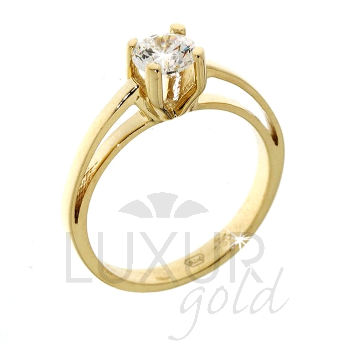 Luxusní zásnubní prsten žluté zlato se zirkonem 1211011-0-51-1 (1211011-0-51-1)